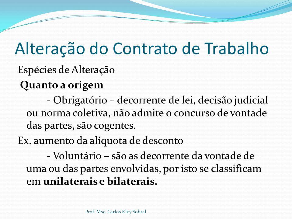 Alteração do Contrato de Trabalho Espécies de Alteração Quanto a origem - Obrigatório – decorrente de lei, decisão judicial ou norma coletiva, não adm