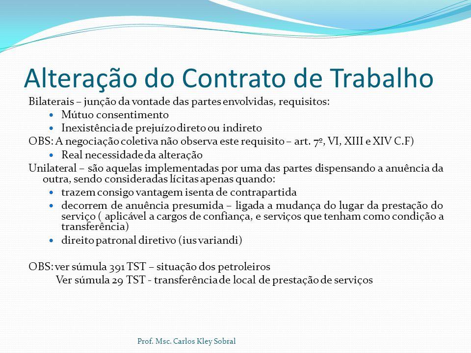 Alteração do Contrato de Trabalho Bilaterais – junção da vontade das partes envolvidas, requisitos: Mútuo consentimento Inexistência de prejuízo diret