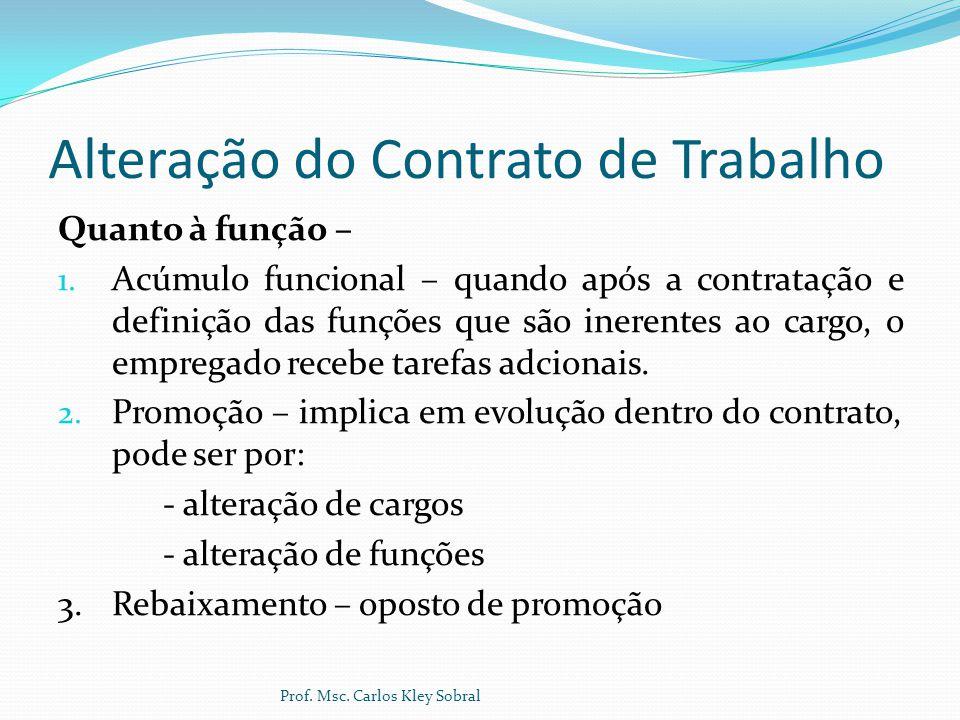 Alteração do Contrato de Trabalho Quanto à função – 1. Acúmulo funcional – quando após a contratação e definição das funções que são inerentes ao carg
