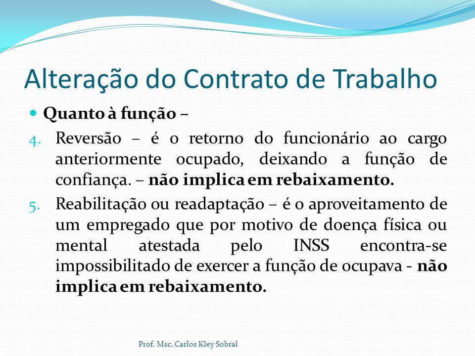Alteração do Contrato de Trabalho Quanto à função – 4. Reversão – é o retorno do funcionário ao cargo anteriormente ocupado, deixando a função de conf