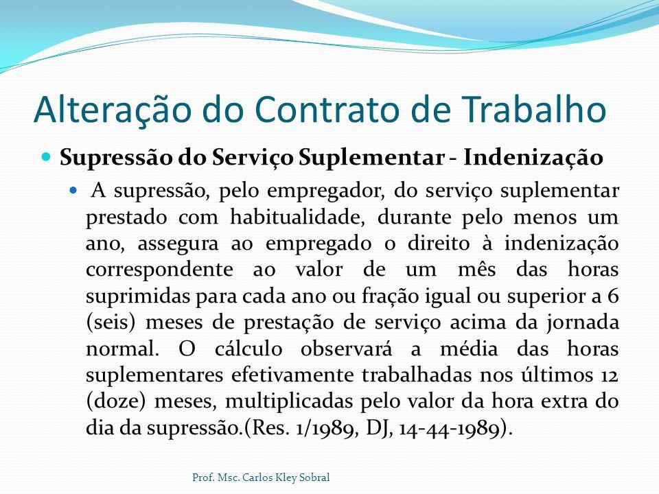 Alteração do Contrato de Trabalho Supressão do Serviço Suplementar - Indenização A supressão, pelo empregador, do serviço suplementar prestado com hab