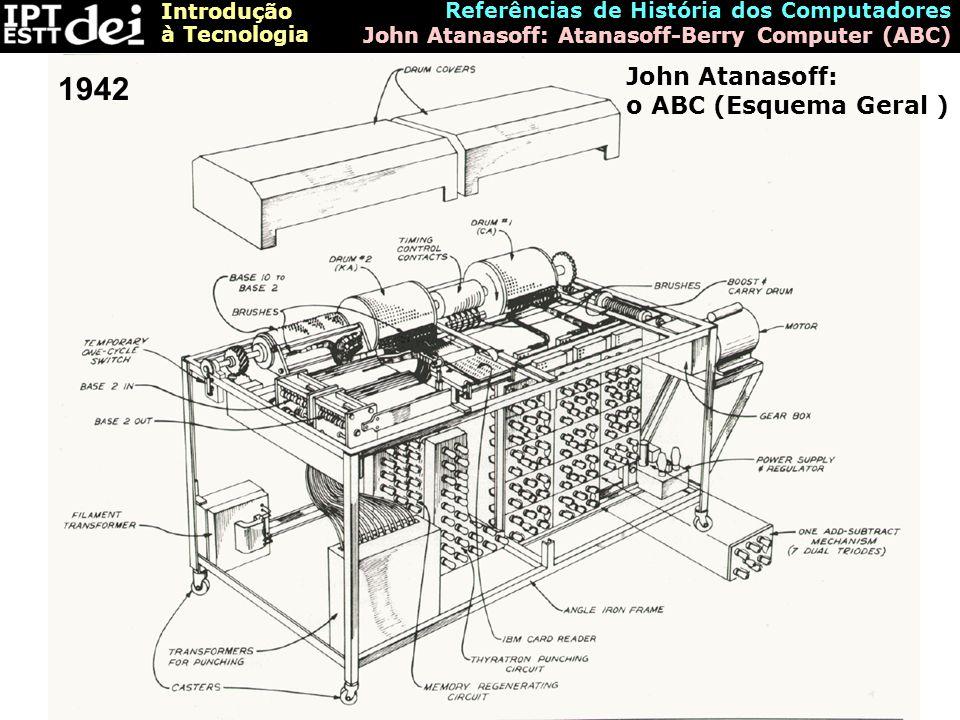 Introdução à Tecnologia Referências de História dos Computadores John Atanasoff: Atanasoff-Berry Computer (ABC) John Atanasoff: o ABC (Esquema Geral )
