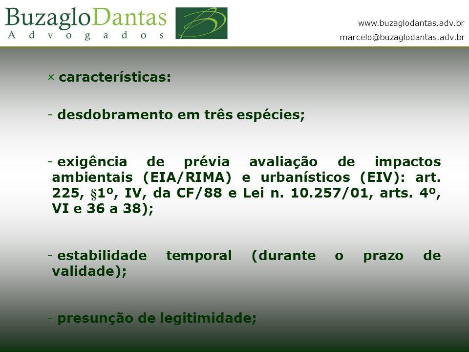 www.buzaglodantas.adv.br marcelo@buzaglodantas.adv.br  características: - desdobramento em três espécies; - exigência de prévia avaliação de impactos ambientais (EIA/RIMA) e urbanísticos (EIV): art.