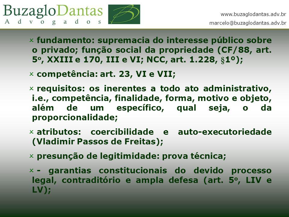 www.buzaglodantas.adv.br marcelo@buzaglodantas.adv.br  fundamento: supremacia do interesse público sobre o privado; função social da propriedade (CF/88, art.