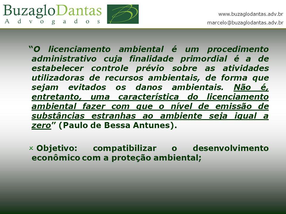 www.buzaglodantas.adv.br marcelo@buzaglodantas.adv.br O licenciamento ambiental é um procedimento administrativo cuja finalidade primordial é a de estabelecer controle prévio sobre as atividades utilizadoras de recursos ambientais, de forma que sejam evitados os danos ambientais.