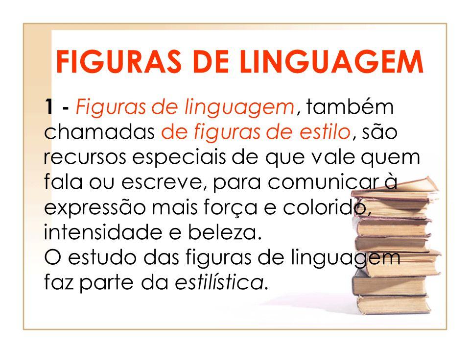 FIGURAS DE LINGUAGEM 1 - Figuras de linguagem, também chamadas de figuras de estilo, são recursos especiais de que vale quem fala ou escreve, para com