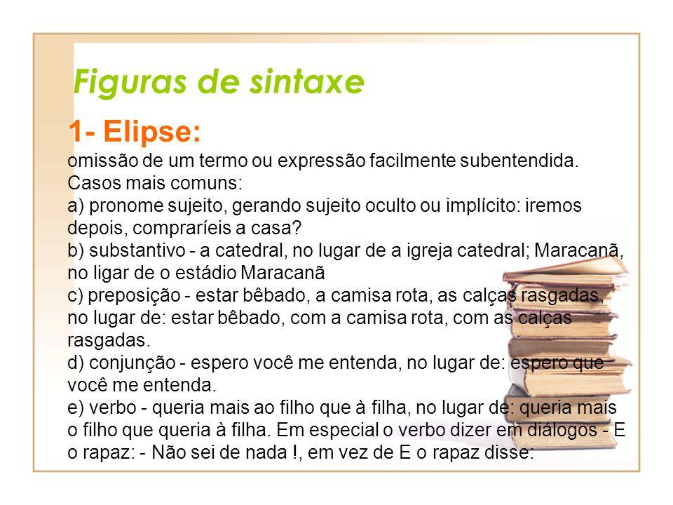 Figuras de sintaxe 1- Elipse: omissão de um termo ou expressão facilmente subentendida. Casos mais comuns: a) pronome sujeito, gerando sujeito oculto