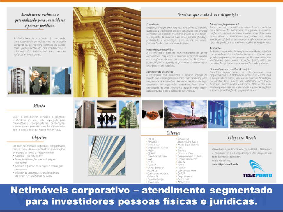 Netimóveis corporativo – atendimento segmentado para investidores pessoas físicas e jurídicas.
