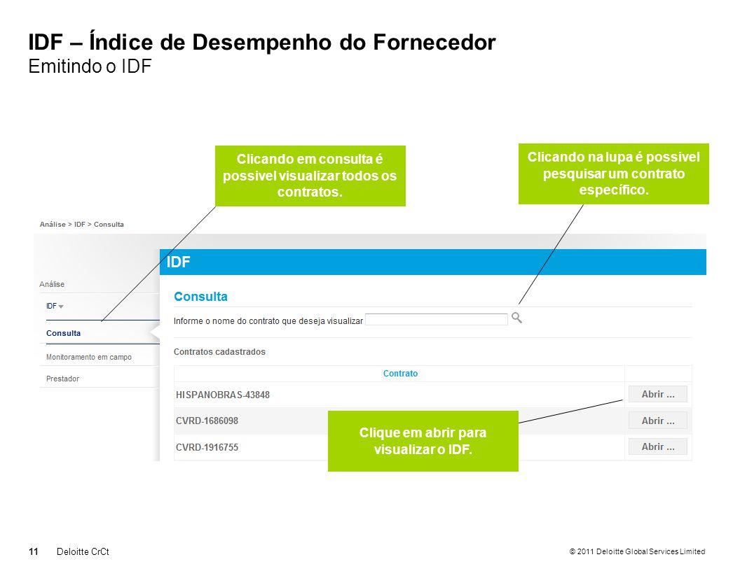 © 2011 Deloitte Global Services Limited IDF – Índice de Desempenho do Fornecedor Emitindo o IDF 11 Deloitte CrCt Clicando em consulta é possivel visualizar todos os contratos.