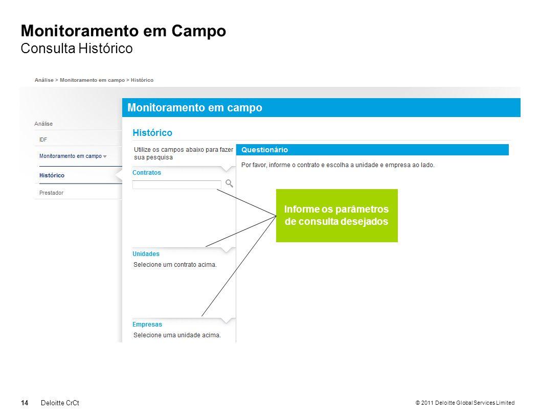 © 2011 Deloitte Global Services Limited Monitoramento em Campo Consulta Histórico 14Deloitte CrCt Informe os parâmetros de consulta desejados