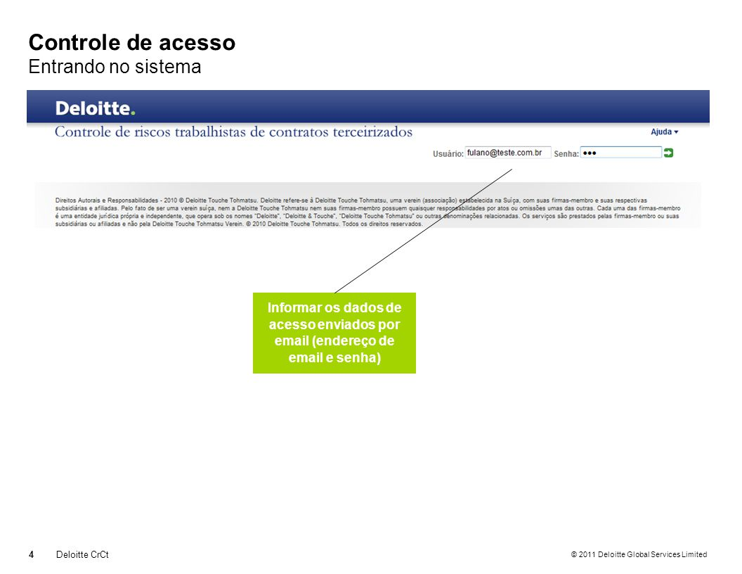 © 2011 Deloitte Global Services Limited Controle de acesso Recuperando a Senha 5Deloitte CrCt Informe o email Informe a sequência númerica exibida à direita Clique em Enviar para receber a senha em seu email