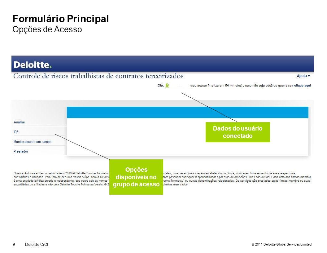 © 2011 Deloitte Global Services Limited Formulário Principal Opções de Acesso 9 Deloitte CrCt Opções disponíveis no grupo de acesso Dados do usuário conectado