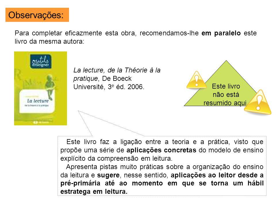 La lecture, de la Théorie à la pratique, De Boeck Université, 3 e éd. 2006. Observações: Para completar eficazmente esta obra, recomendamos-lhe em par