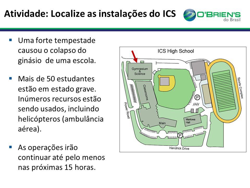 Atividade: Localize as instalações do ICS  Uma forte tempestade causou o colapso do ginásio de uma escola.