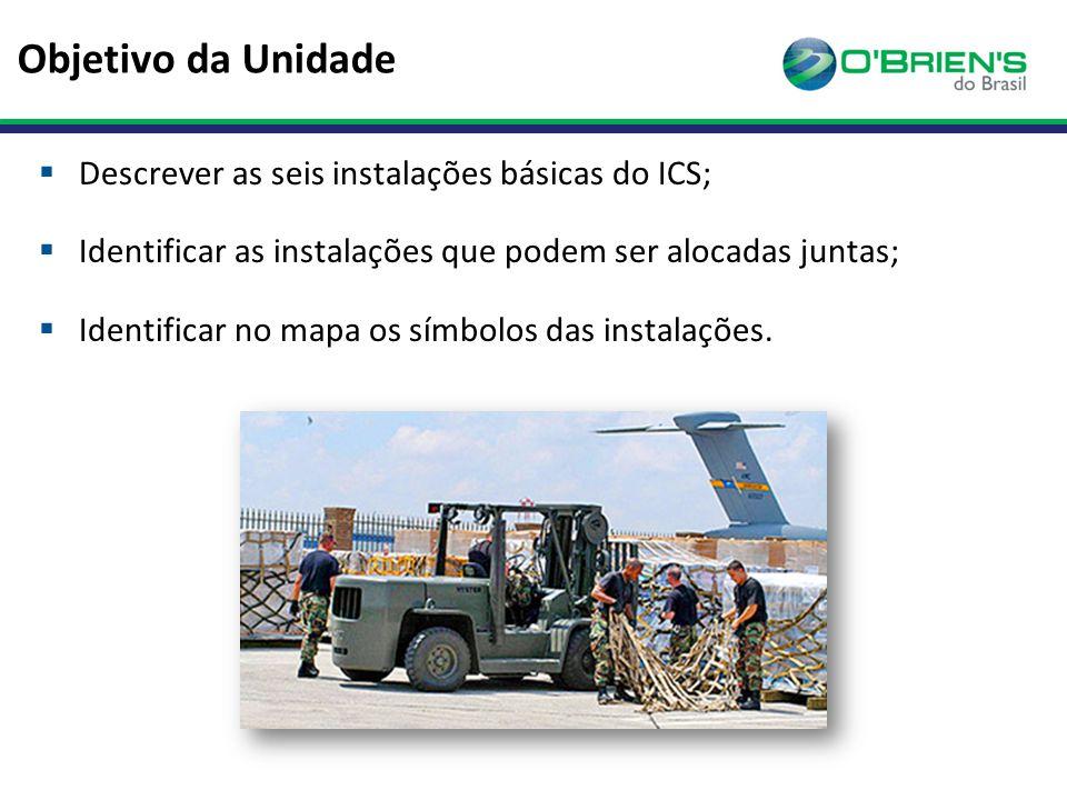 Objetivo da Unidade  Descrever as seis instalações básicas do ICS;  Identificar as instalações que podem ser alocadas juntas;  Identificar no mapa os símbolos das instalações.