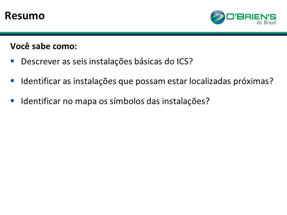 Resumo Você sabe como:  Descrever as seis instalações básicas do ICS.