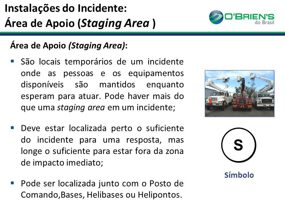 Instalações do Incidente: Área de Apoio ( Staging Area ) Área de Apoio (Staging Area):  São locais temporários de um incidente onde as pessoas e os equipamentos disponíveis são mantidos enquanto esperam para atuar.