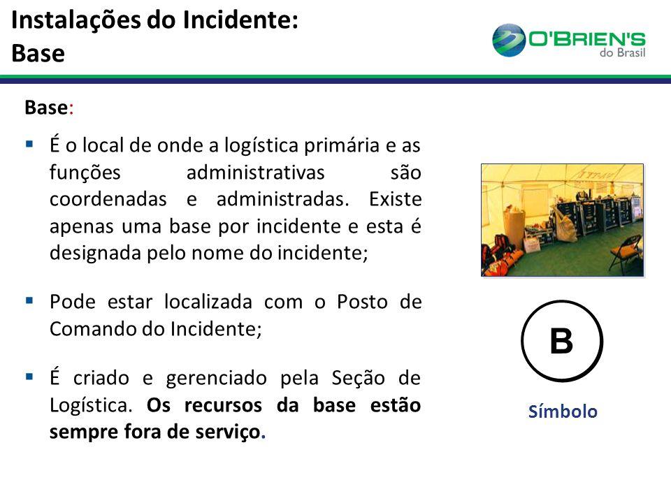 Instalações do Incidente: Base Base:  É o local de onde a logística primária e as funções administrativas são coordenadas e administradas.