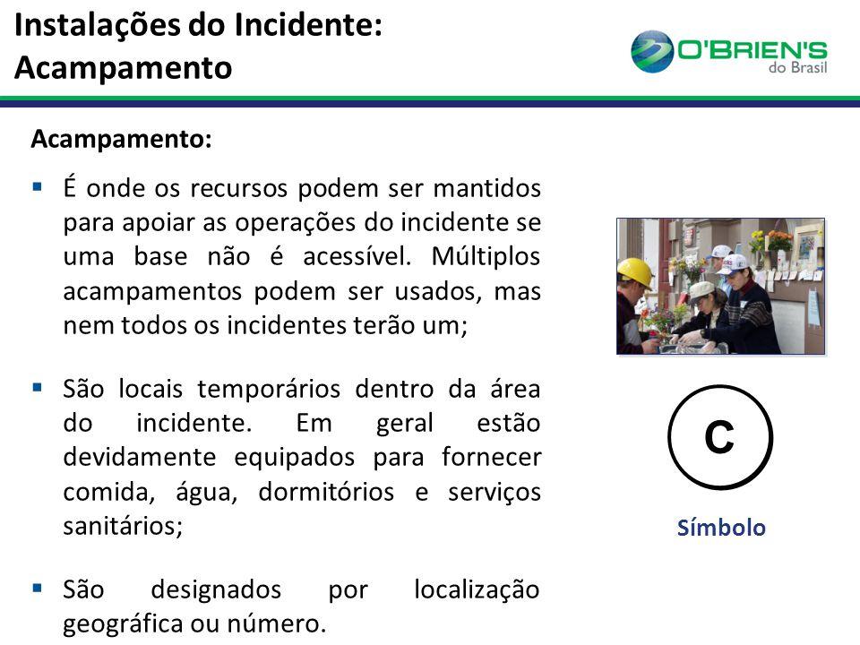Instalações do Incidente: Acampamento Acampamento:  É onde os recursos podem ser mantidos para apoiar as operações do incidente se uma base não é acessível.