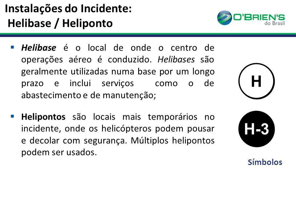 Instalações do Incidente: Helibase / Heliponto  Helibase é o local de onde o centro de operações aéreo é conduzido.