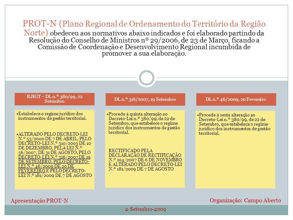 2-Setembro-2009 Organização: Campo Aberto PROT-N ( Plano Regional de Ordenamento do Território da Região Norte ) obedeceu aos normativos abaixo indicados e foi elaborado partindo da Resolução do Conselho de Ministros nº 29/2006, de 23 de Março, ficando a Comissão de Coordenação e Desenvolvimento Regional incumbida de promover a sua elaboração.