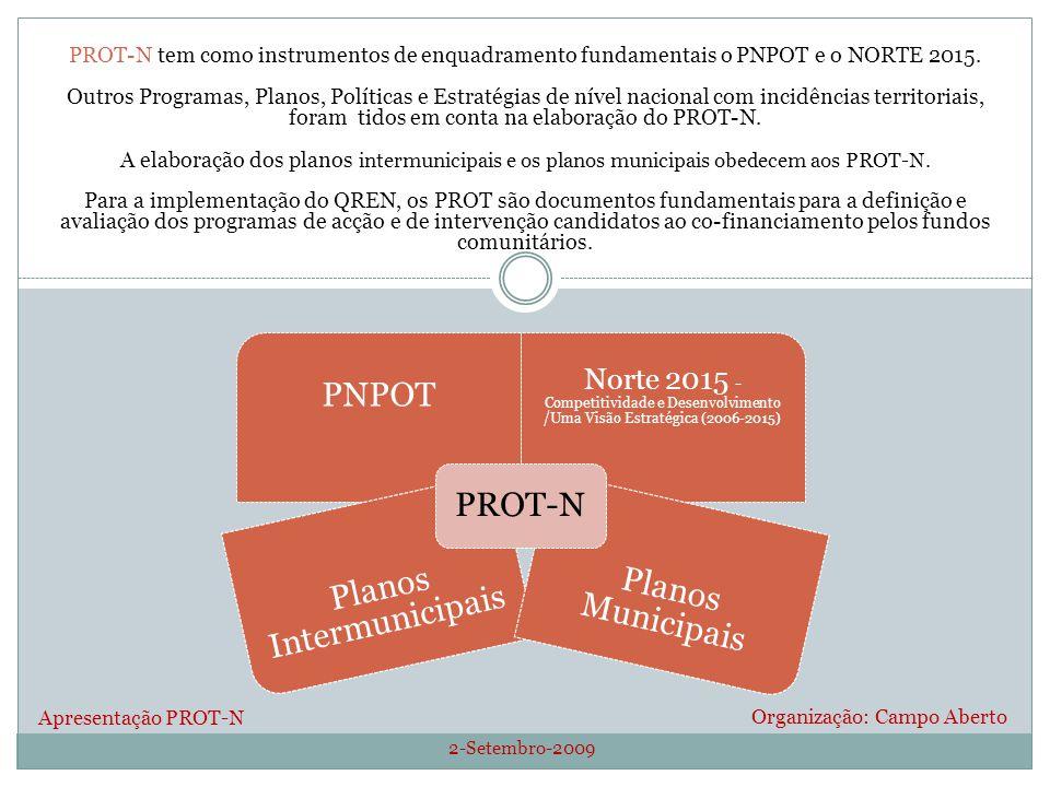 2-Setembro-2009 Organização: Campo Aberto PROT-N tem como instrumentos de enquadramento fundamentais o PNPOT e o NORTE 2015. Outros Programas, Planos,