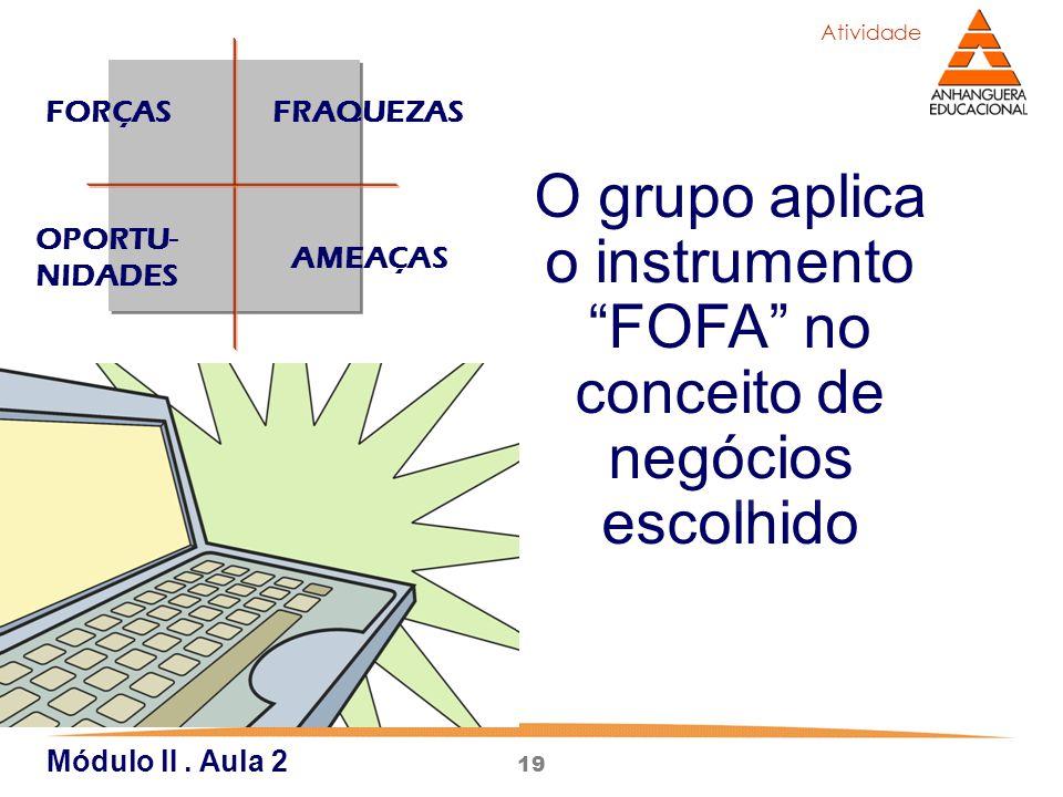 """19 O grupo aplica o instrumento """"FOFA"""" no conceito de negócios escolhido Atividade FORÇASFRAQUEZAS AMEAÇAS OPORTU- NIDADES Módulo lI. Aula 2"""