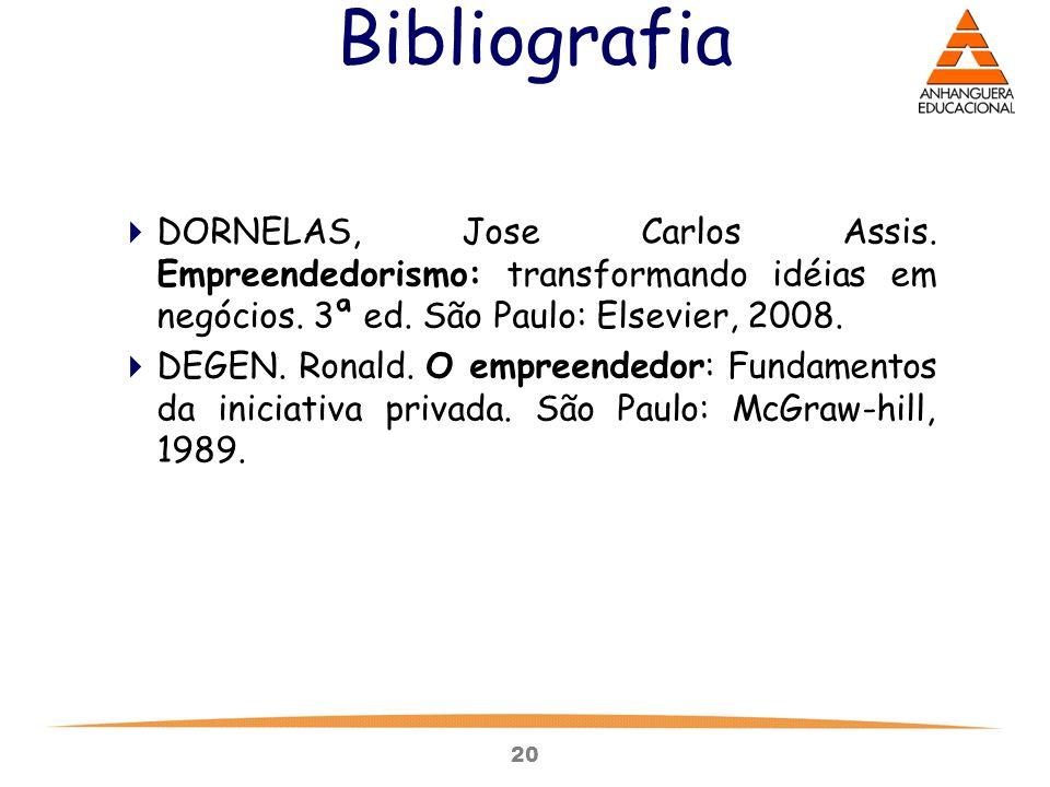 20 Bibliografia  DORNELAS, Jose Carlos Assis. Empreendedorismo: transformando idéias em negócios. 3ª ed. São Paulo: Elsevier, 2008.  DEGEN. Ronald.