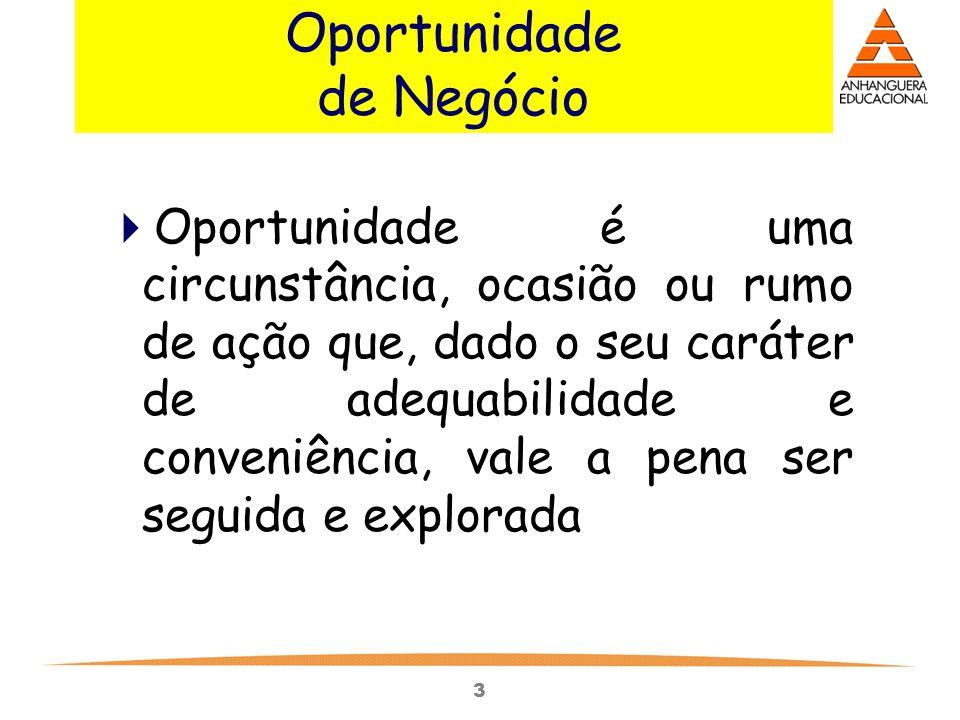 3 Oportunidade de Negócio  Oportunidade é uma circunstância, ocasião ou rumo de ação que, dado o seu caráter de adequabilidade e conveniência, vale a