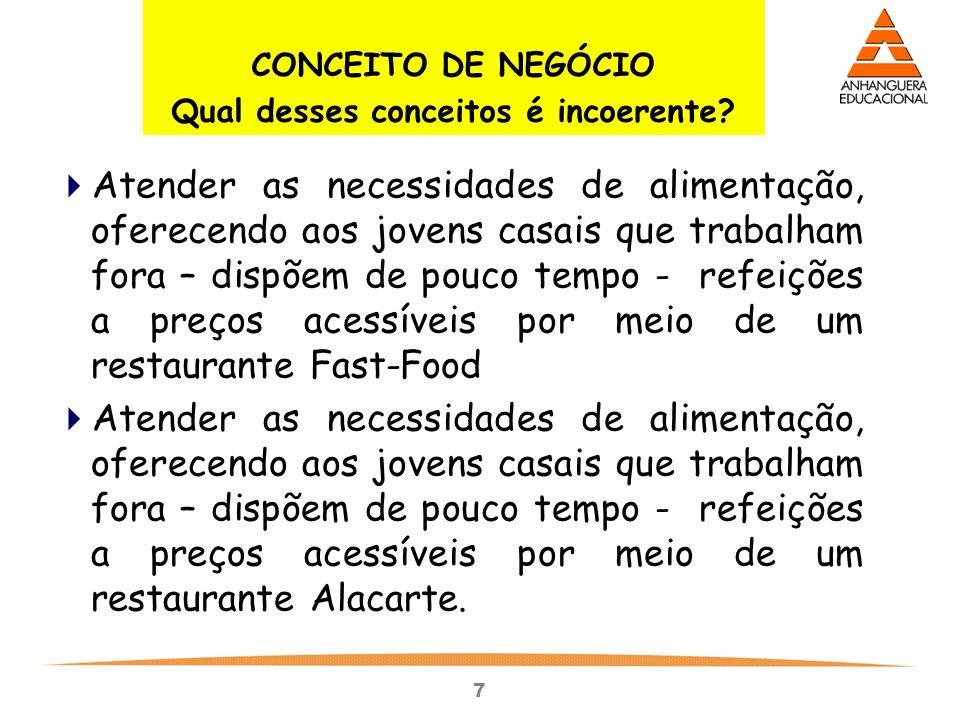 7 CONCEITO DE NEGÓCIO Qual desses conceitos é incoerente?  Atender as necessidades de alimentação, oferecendo aos jovens casais que trabalham fora –