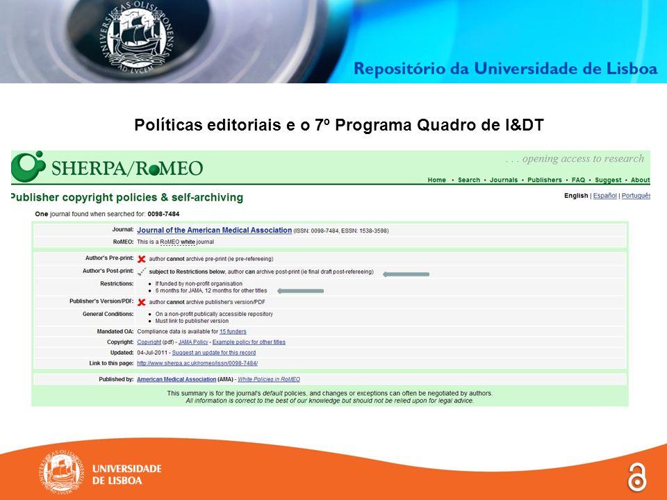 Políticas editoriais e o 7º Programa Quadro de I&DT