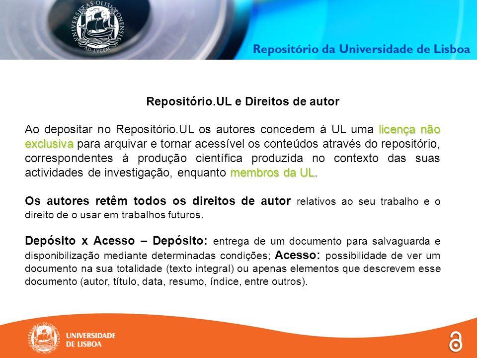 licença não exclusiva membros da UL Ao depositar no Repositório.UL os autores concedem à UL uma licença não exclusiva para arquivar e tornar acessível os conteúdos através do repositório, correspondentes à produção científica produzida no contexto das suas actividades de investigação, enquanto membros da UL.