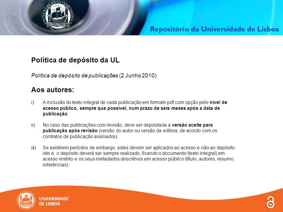 Política de depósito da UL Licença de distribuição não-exclusiva (licença concedida no 6.º passo do auto-arquivo Licença ) De acordo com o Regulamento da Política de Depósito de Publicações da Universidade de Lisboa, aprovado pelo Reitor em 2 de Junho de 2010, ao aceitar esta licença declaro que: licença não-exclusivaConcedo à UL e aos seus agentes uma licença não-exclusiva para depositar este documento, no todo ou em parte, em suporte digital.