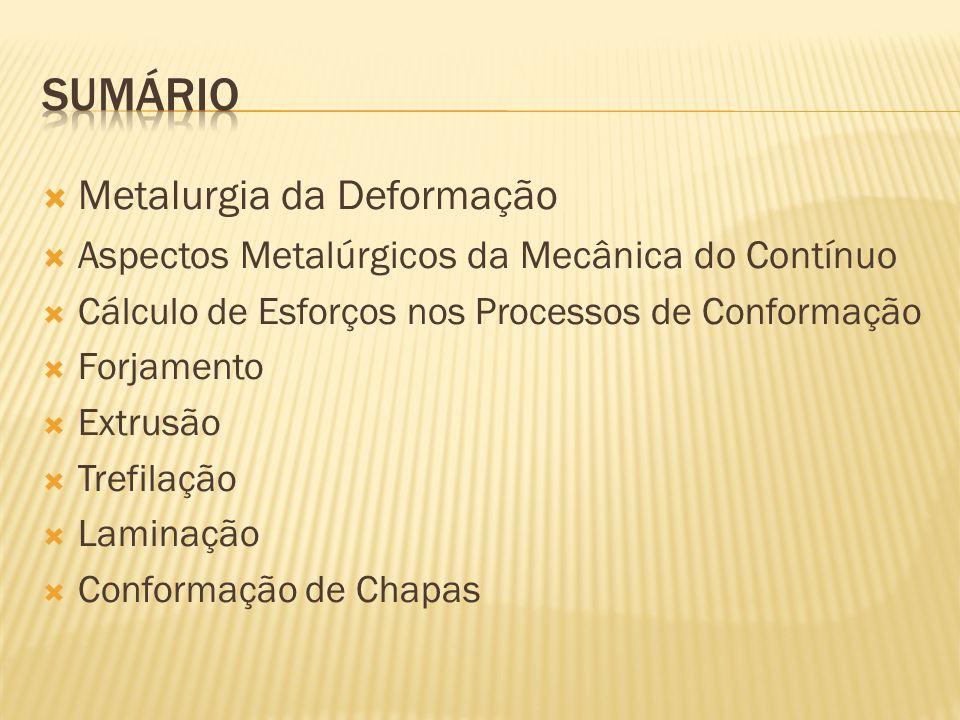  Metalurgia da Deformação  Aspectos Metalúrgicos da Mecânica do Contínuo  Cálculo de Esforços nos Processos de Conformação  Forjamento  Extrusão