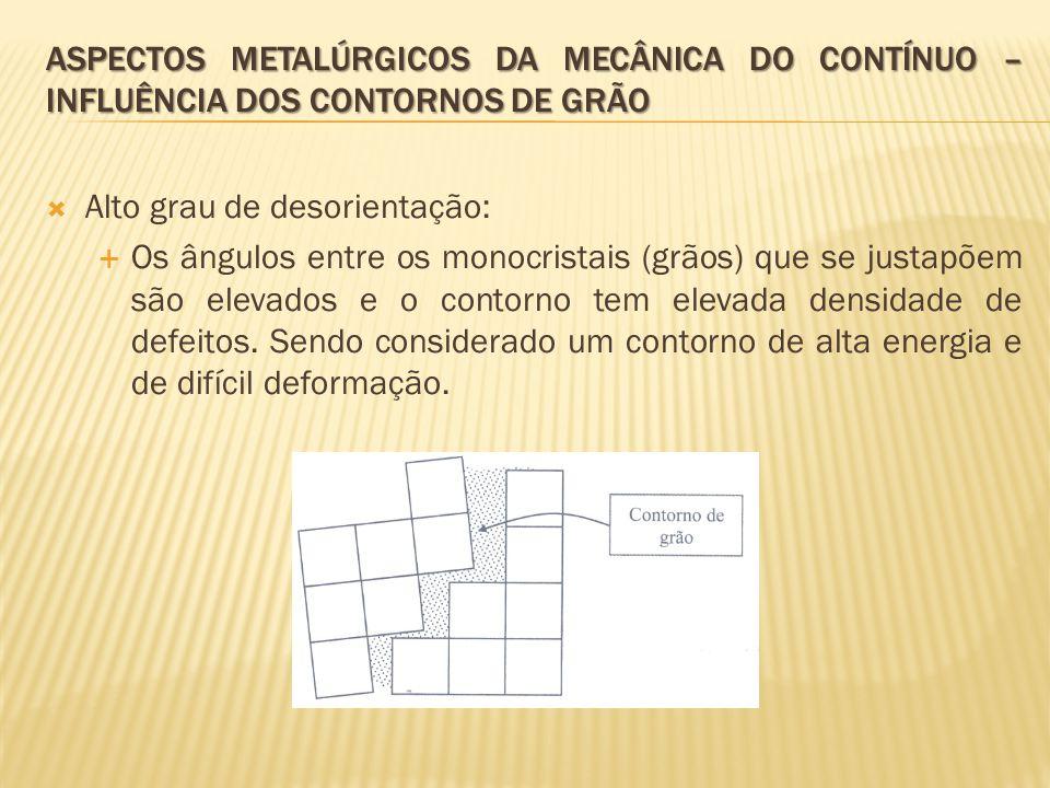  Alto grau de desorientação:  Os ângulos entre os monocristais (grãos) que se justapõem são elevados e o contorno tem elevada densidade de defeitos.