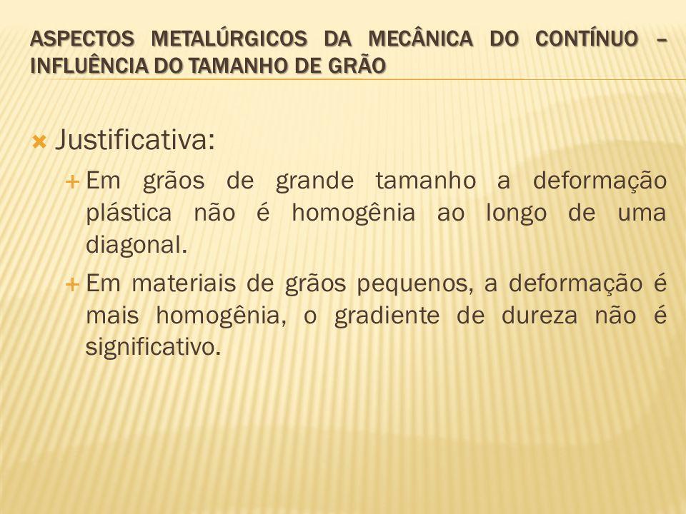  Justificativa:  Em grãos de grande tamanho a deformação plástica não é homogênia ao longo de uma diagonal.  Em materiais de grãos pequenos, a defo