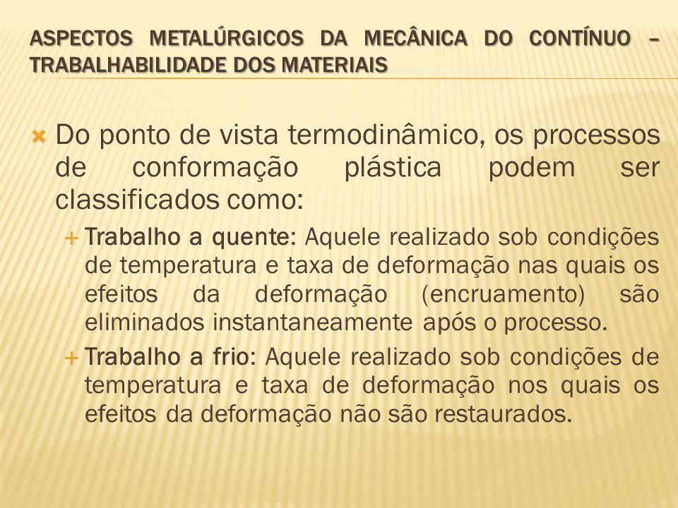  Do ponto de vista termodinâmico, os processos de conformação plástica podem ser classificados como:  Trabalho a quente: Aquele realizado sob condiç
