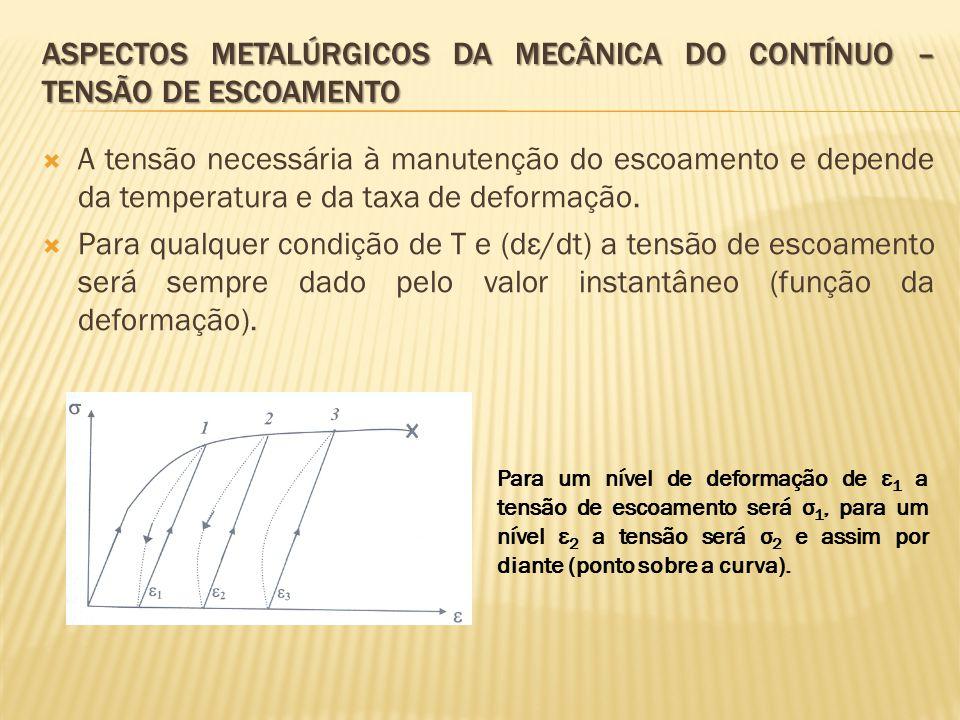  A tensão necessária à manutenção do escoamento e depende da temperatura e da taxa de deformação.  Para qualquer condição de T e (dε/dt) a tensão de