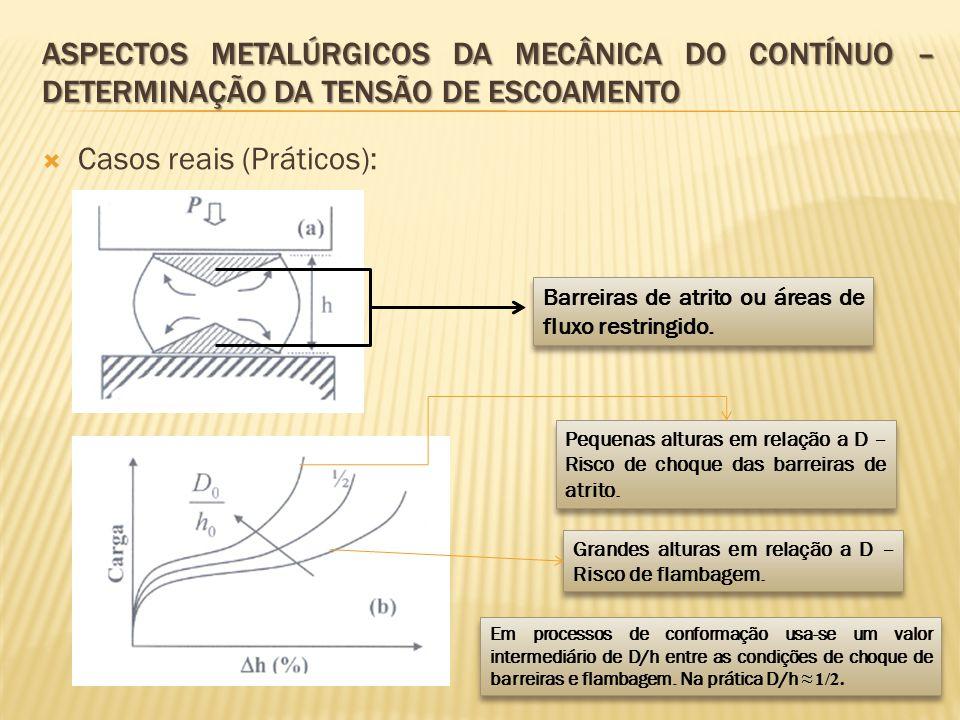  Casos reais (Práticos): ASPECTOS METALÚRGICOS DA MECÂNICA DO CONTÍNUO – DETERMINAÇÃO DA TENSÃO DE ESCOAMENTO Barreiras de atrito ou áreas de fluxo r