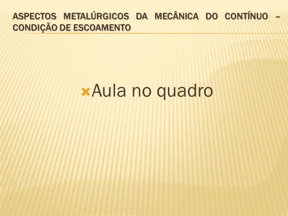  Aula no quadro ASPECTOS METALÚRGICOS DA MECÂNICA DO CONTÍNUO – CONDIÇÃO DE ESCOAMENTO