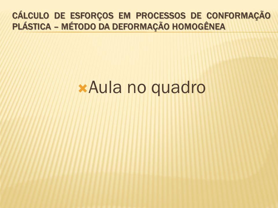  Aula no quadro CÁLCULO DE ESFORÇOS EM PROCESSOS DE CONFORMAÇÃO PLÁSTICA – MÉTODO DA DEFORMAÇÃO HOMOGÊNEA