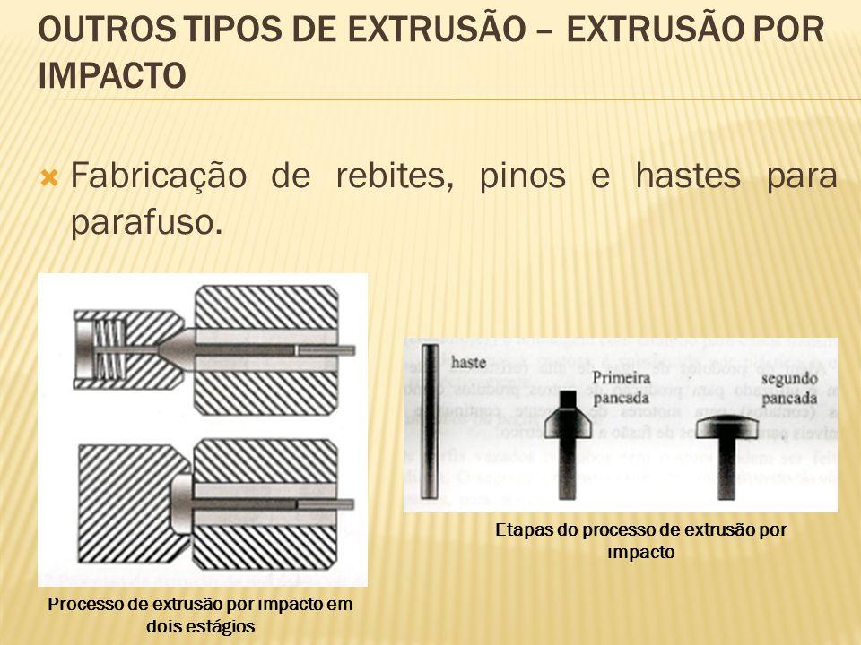 OUTROS TIPOS DE EXTRUSÃO – EXTRUSÃO POR IMPACTO  Fabricação de rebites, pinos e hastes para parafuso. Processo de extrusão por impacto em dois estági