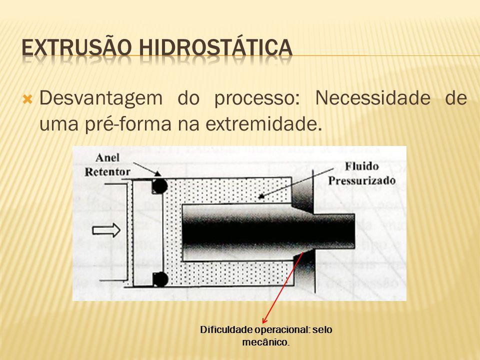  Desvantagem do processo: Necessidade de uma pré-forma na extremidade. Dificuldade operacional: selo mecânico.
