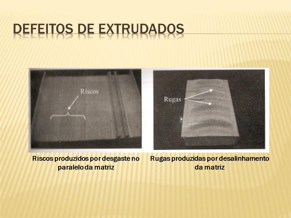 Riscos produzidos por desgaste no paralelo da matriz Rugas produzidas por desalinhamento da matriz