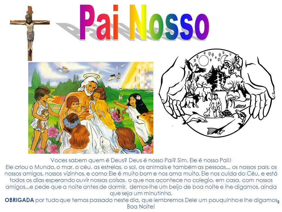2 Voces sabem quem é Deus? Deus é nosso Pai? Sim, Ele é nosso Pai!! Ele criou o Mundo, o mar, o céu, as estrelas, o sol, os animais e também as pessoa