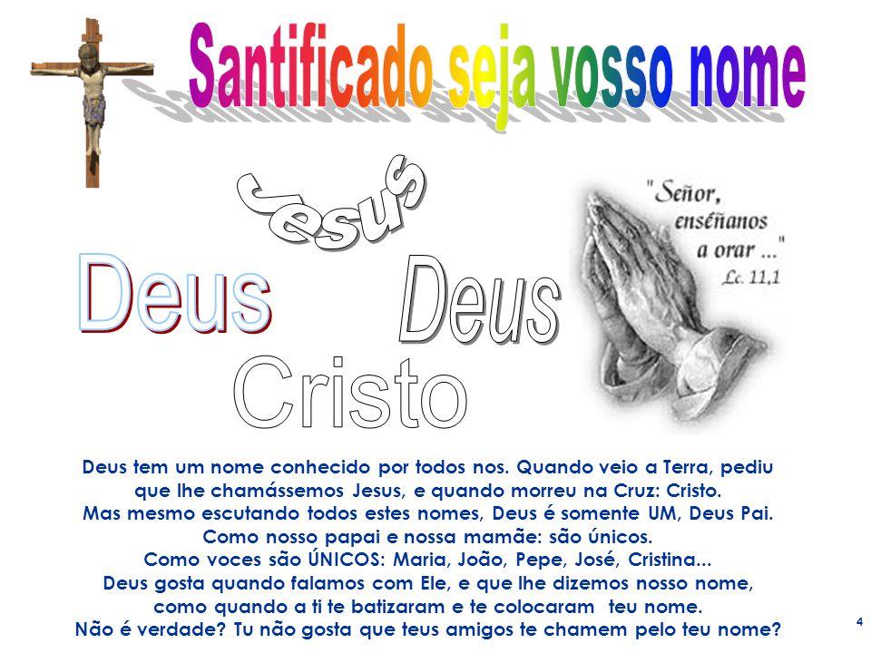 4 Deus tem um nome conhecido por todos nos. Quando veio a Terra, pediu que lhe chamássemos Jesus, e quando morreu na Cruz: Cristo. Mas mesmo escutando