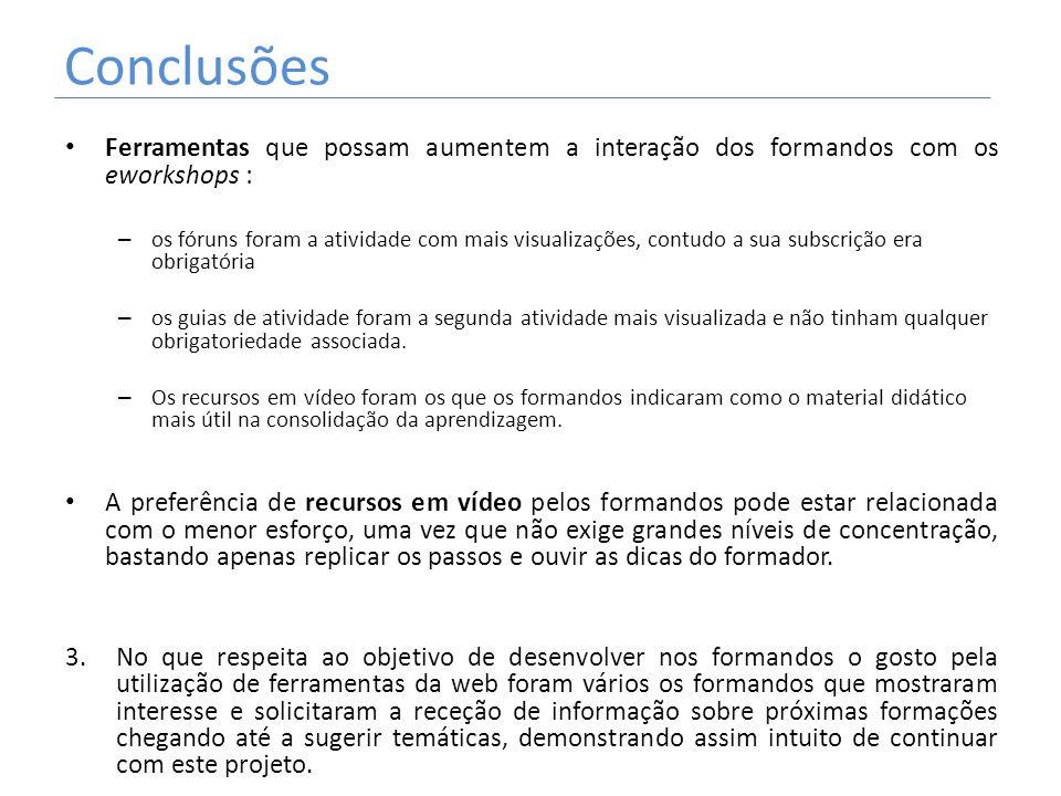 Conclusões Ferramentas que possam aumentem a interação dos formandos com os eworkshops : – os fóruns foram a atividade com mais visualizações, contudo
