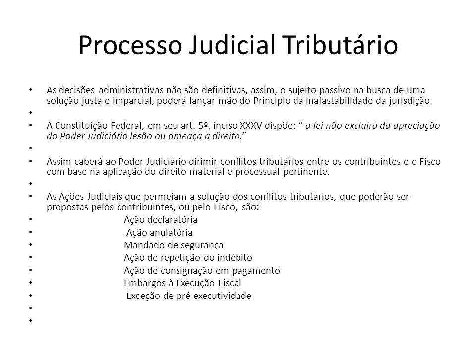 Processo Judicial Tributário As decisões administrativas não são definitivas, assim, o sujeito passivo na busca de uma solução justa e imparcial, pode