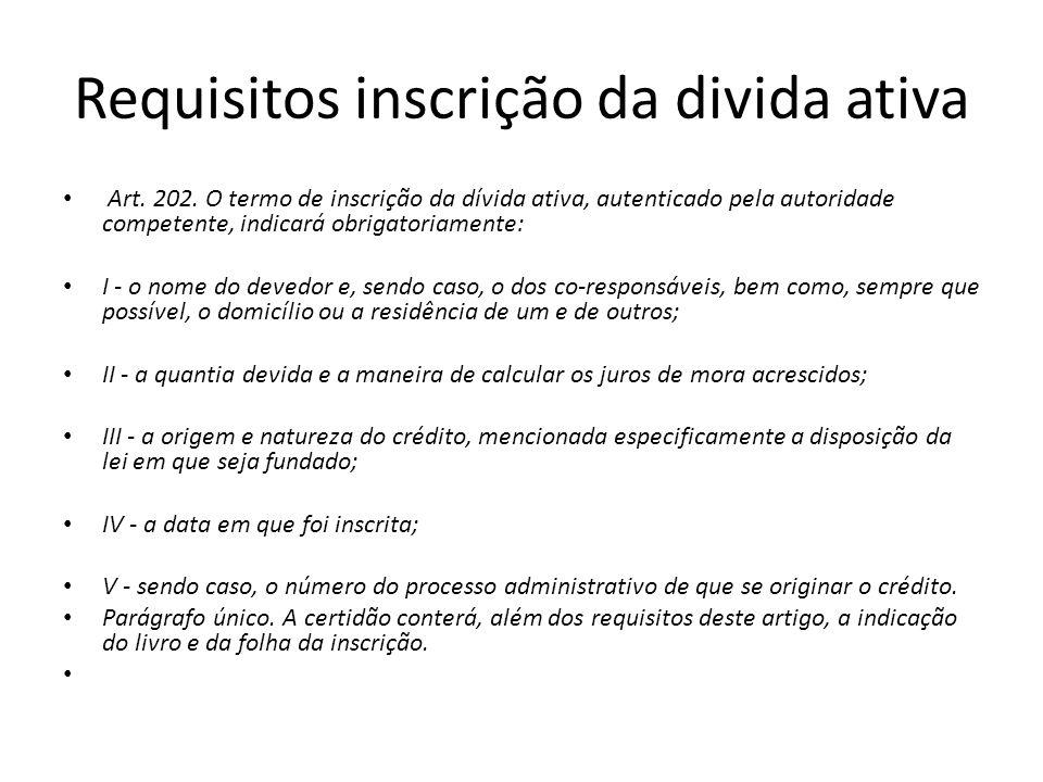 Requisitos inscrição da divida ativa Art. 202. O termo de inscrição da dívida ativa, autenticado pela autoridade competente, indicará obrigatoriamente