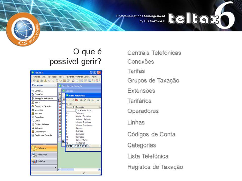 Tarifas Grupos de Taxação Extensões Tarifários Linhas Códigos de Conta Categorias Lista Telefónica Registos de Taxação Operadores O que é possível ger
